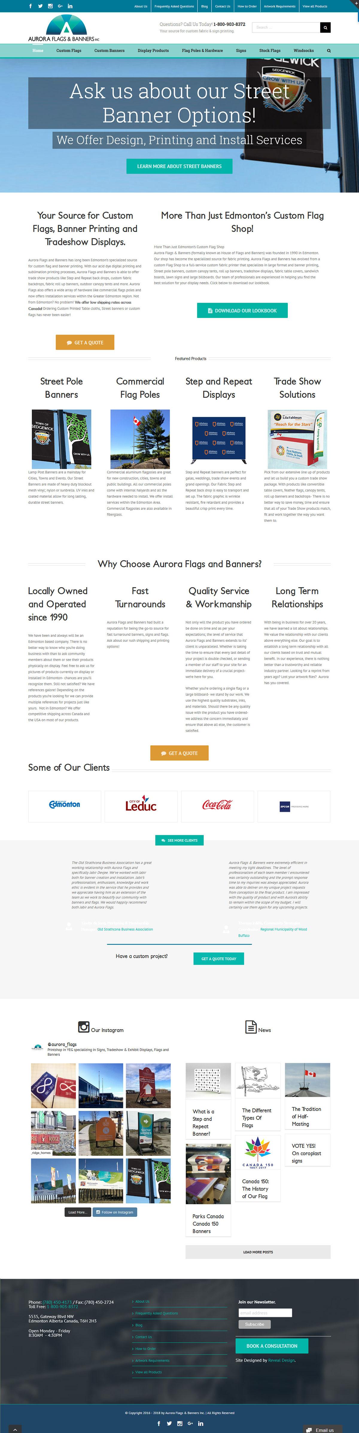 Aurora Flags Printing Website Home
