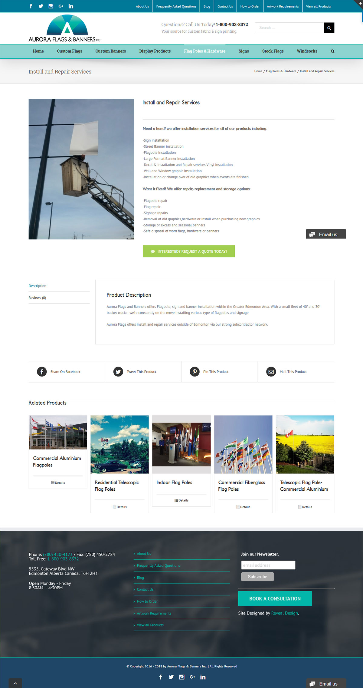Aurora Flags Printing Website Product