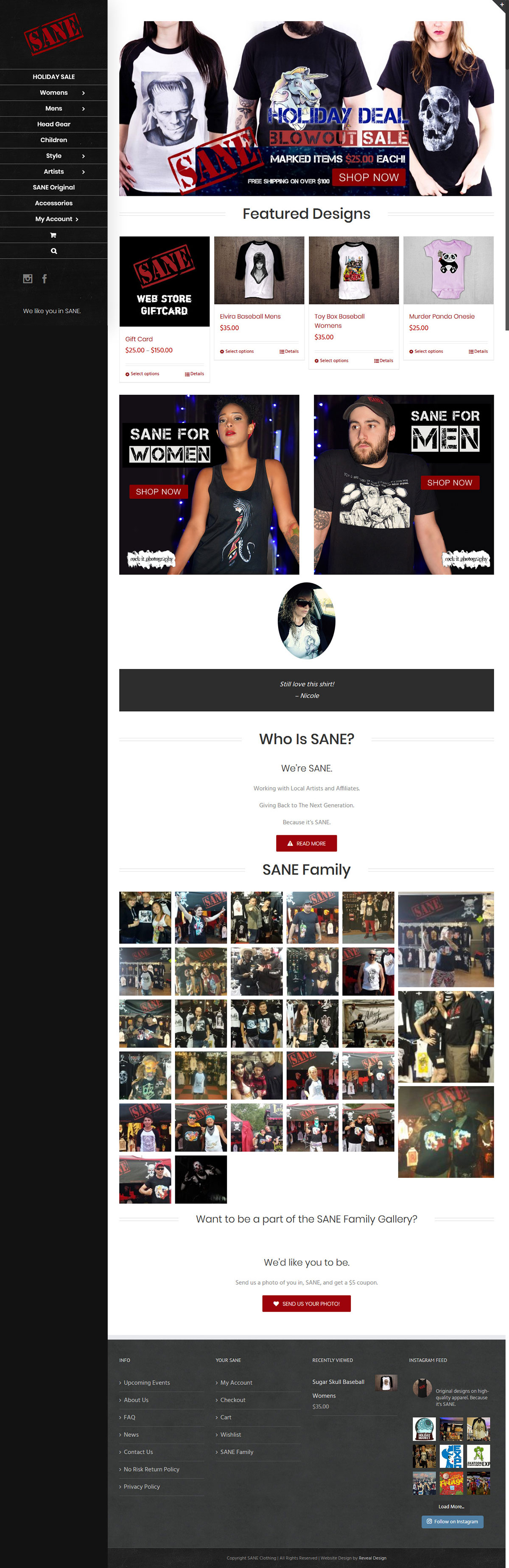 SANE Clothing Website Home