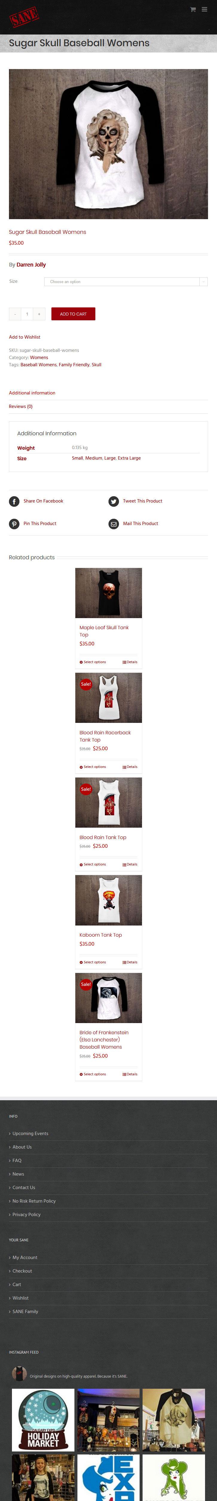 SANE Clothing Website Mobile
