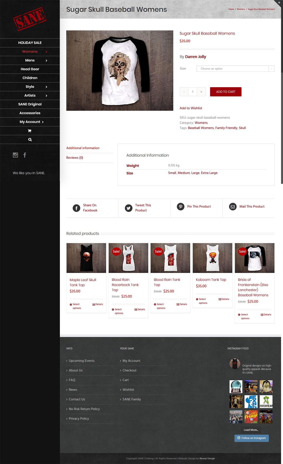 SANE Clothing Website Product