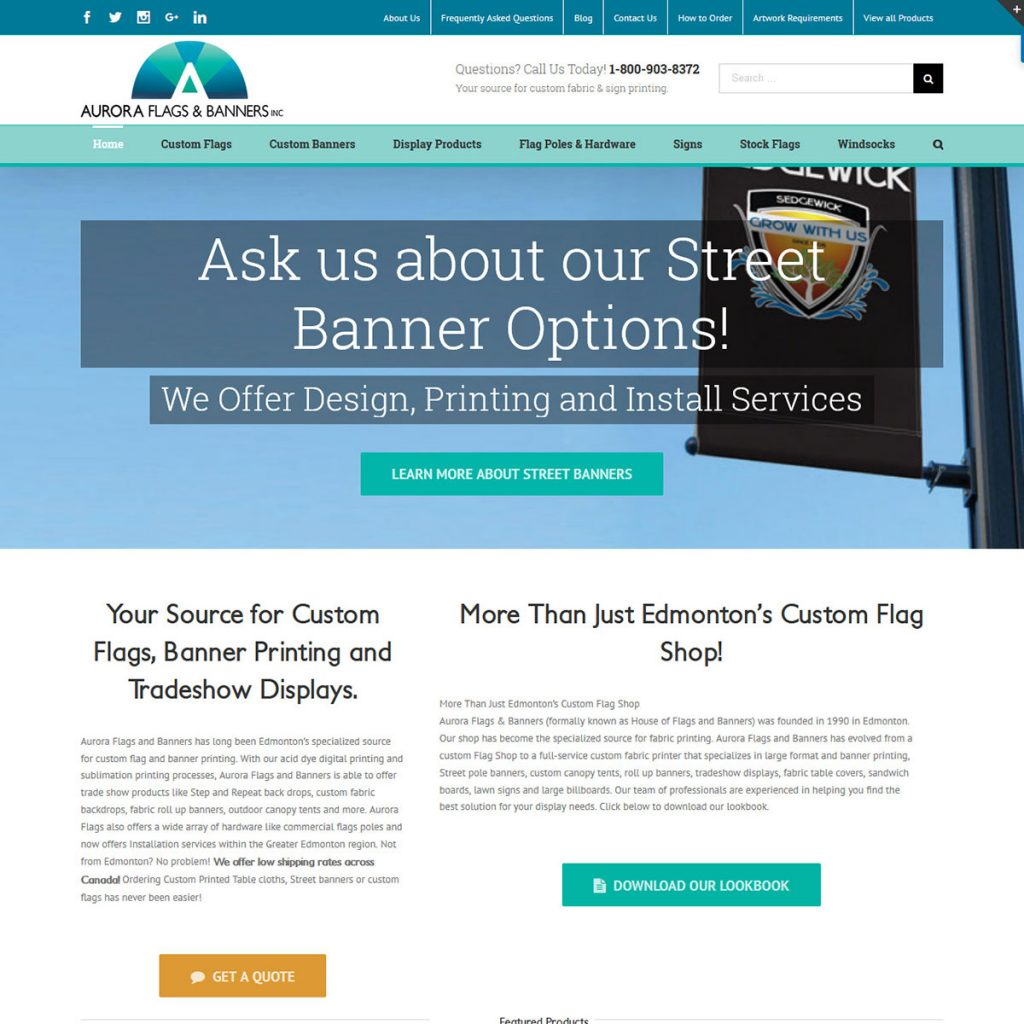 Aurora Flags Printing Website