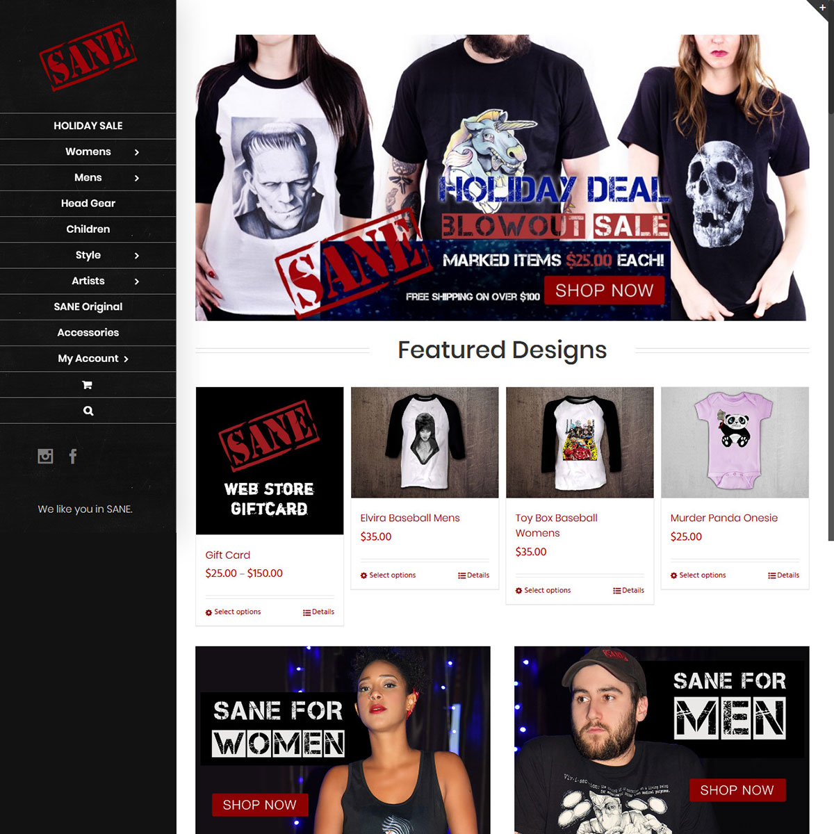 SANE Clothing Website